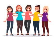 Gruppen av kvinnor kramar Kvinnligt kamratskap Vektorillustrati stock illustrationer