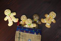 Gruppen av pepparkakan bakar ihop i julsocka arkivbilder