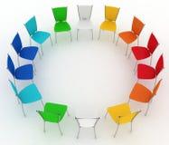 Gruppen av stolar kostar rundan Arkivbilder
