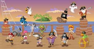 Gruppen av tecknade filmen piratkopierar Royaltyfri Bild