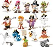 Gruppen av tecknade filmen piratkopierar Royaltyfria Foton