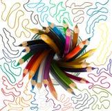 Gruppen av träfärg ritar i ett exponeringsglas Royaltyfri Foto