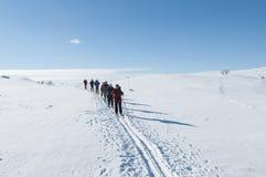 Gruppen av turnerar skiers Royaltyfri Bild