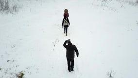 Gruppen av ungdomarpromenerar slingan för skog` s på molnig vinterdag stock video