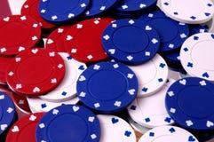 gruppen chips poker Arkivfoton