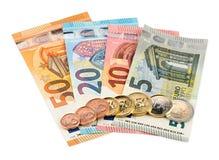 gruppen coins euroanmärkningar arkivbilder