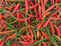Gruppen des roten Paprikas im Markt stockfoto