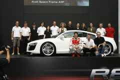 Gruppen-Foto, Audi Motorsports   Lizenzfreie Stockfotos
