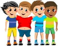 Gruppen-glückliche Kinderkinderumarmungs-Freunde lokalisiert Stockfotografie