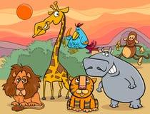 Gruppen-Karikaturillustration der wilden Tiere Stockbild