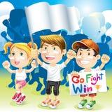 Gruppen-Kinder, die mit Flagge zujubeln vektor abbildung