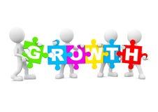 Gruppen-Leute, die englisches multi farbiges Wachstums-Konzept halten Stockfoto