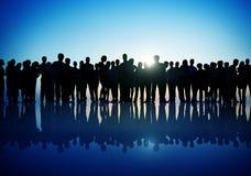 Gruppen-Leute-Firmenkundengeschäft-stehendes Schattenbild-Konzept stockbilder