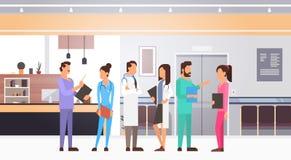Gruppen-Mitteldoktoren Team Clinics Hospital Interior lizenzfreie abbildung