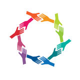 Gruppen-oh Leute-Hände im Kreislogo Stockfotos