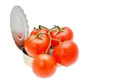 gruppen på burk röda tomater Arkivbilder
