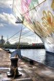 Gruppen-Planke im Himmel auf einem Kreuzschiff Lizenzfreies Stockfoto