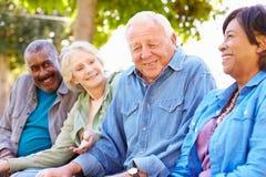Gruppen-Porträt im Freien von älteren Freunden Lizenzfreie Stockfotos