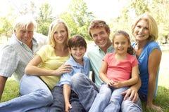 Gruppen-Portrait der Familie im Park Stockbild