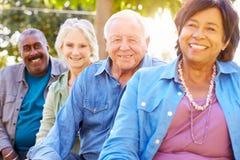 Gruppen-Porträt im Freien von älteren Freunden Stockfoto