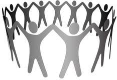 Gruppen-Symbol-Leute-Arme oben in der Kreis-Ring-Kette Stockfoto