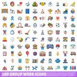 100 Gruppenarbeitsikonen eingestellt, Karikaturart Lizenzfreie Stockfotos
