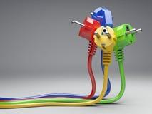 Gruppenfarbelektrischer Stecker mit Langdrähten stockfoto