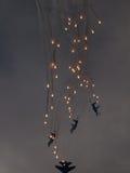 Gruppenflugzeug startet Feuerwerke Lizenzfreies Stockfoto