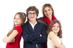 Gruppenfoto einer Familie lokalisiert auf Weiß Lizenzfreie Stockfotografie