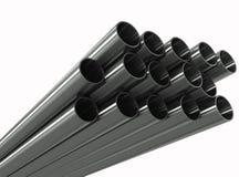 Gruppenmetallrohr auf einem weißen Hintergrund Stockfotografie