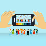 Gruppenphotographie-Konzept 3d isometrisches infographic Stockfoto