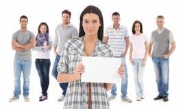 Gruppenporträt von glücklichen jungen Leuten lizenzfreie stockbilder
