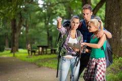 Gruppenwanderer, die an der Karte lesen Stockfoto