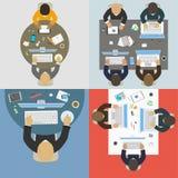 Grupper av affärsfolk som arbetar för kontorsskrivbord Arkivbild