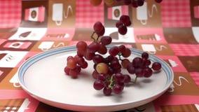 Grupper av druvor faller in i en vit platta på tabellen arkivfilmer