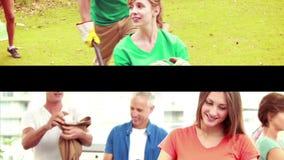 Grupper av volontärer lager videofilmer