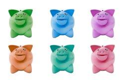 grupper färgade piggy Fotografering för Bildbyråer