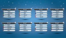 Grupper 2018 för fotbollvärldsmästerskap med landsflaggor royaltyfri illustrationer