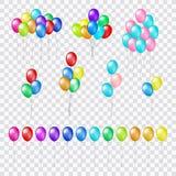 Grupper och grupper av färgrika heliumballonger på genomskinlig bakgrund Fotografering för Bildbyråer