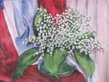 grupper som tecknar spolning för vattenfärg för blomningflodtrees Vas med en bukett av blommor stock illustrationer