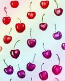 grupper som tecknar spolning för vattenfärg för blomningflodtrees Röda körsbär royaltyfria foton