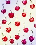 grupper som tecknar spolning för vattenfärg för blomningflodtrees Röda körsbär royaltyfri bild