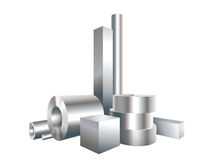 Gruppera den olika cirkeln för metallstålobjekt, fyrkanten, muffen, rör Arkivfoto