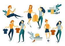 gruppera folk shopping köp Kläder och skodon stock illustrationer