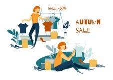 gruppera folk shopping köp online shoping stock illustrationer