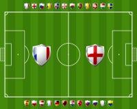 gruppera a i fotboll Arkivbilder