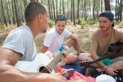 Gruppera lyckliga vänner med gitarren som har utomhus- gyckel royaltyfria bilder