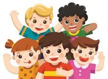 Gruppera lyckligt le för bästa vän, att krama och att vinka deras händer stock illustrationer