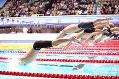 Gruppera simmare som hoppar in i vattnet arkivfoto