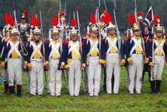 Gruppera ståenden av män i militär likformig för tappning Royaltyfri Foto